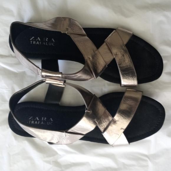 Gold Zara Trafaluc Sandals Size EU 38 US 7.5